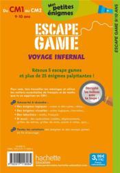 Escape game ; voyage infernal ; du CM1 au CM2 - 4ème de couverture - Format classique