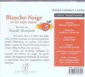 Blanche Neige Et Les Sept Nains (Cd) - 4ème de couverture - Format classique