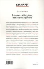 REVUE CHAMP PSYCHOSOMATIQUE N.60 ; transmissions biologiques, transmissions psychiques - 4ème de couverture - Format classique