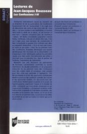 Lectures de Jean-Jacques Rousseau ; les confessions I-IV - 4ème de couverture - Format classique