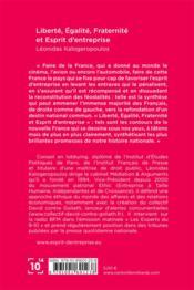 Liberté, égalité, fraternité et esprit d'entreprise - 4ème de couverture - Format classique