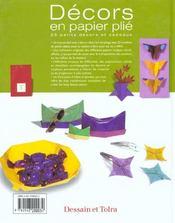 Decors En Papier Plie - 4ème de couverture - Format classique