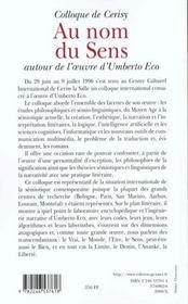 Au nom du sens - autour d'umberto eco - 4ème de couverture - Format classique