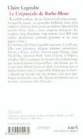 Le Crepuscule De Barbe Bleue - 4ème de couverture - Format classique