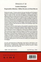 Revue Otrante N.23 ; Londres Fantastique - 4ème de couverture - Format classique