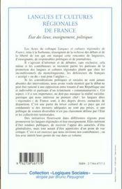 Langues Et Cultures Regionales De France ; Etat Des Lieux Enseignements Politiques - 4ème de couverture - Format classique