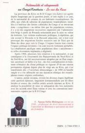 Nationalite Et Citoyennete ; Au Congo Kinshasa ; Le Cas Du Kivu - 4ème de couverture - Format classique