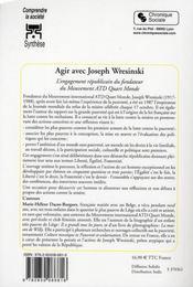 Agir avec Joseph Wresinski ; l'engagement républicain du fond - 4ème de couverture - Format classique