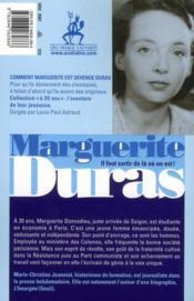 Marguerite Duras à 20 ans ; l'amante - 4ème de couverture - Format classique