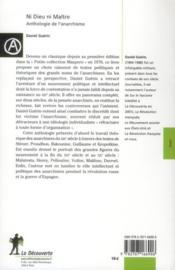 Ni Dieu ni maître ; anthologie de l'anarchisme - 4ème de couverture - Format classique