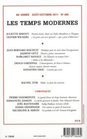 Revue Les Temps Modernes N.666 ; Harkis 1962-2012 ; Les Mythes Et Les Faits - 4ème de couverture - Format classique
