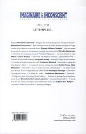 Revue Imaginaire Et Inconscient N.28 ; Le Temps De... - 4ème de couverture - Format classique