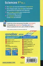 ANNABAC ; sciences ; 1ère ES, L (édition 2016) - 4ème de couverture - Format classique