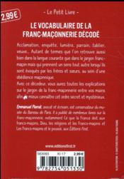 Le décodeur des expressions franc-maçonniques - 4ème de couverture - Format classique