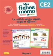 Mon mémo ; mes fiches français et maths CE2 ; tout retenir en un clin d'oeil - 4ème de couverture - Format classique