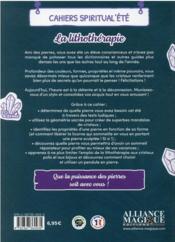 Cahiers Spiritual'été ; la lithothérapie (édition 2021) - 4ème de couverture - Format classique