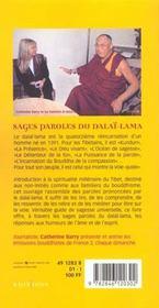 Sages paroles du Dalaï-Lama - 4ème de couverture - Format classique