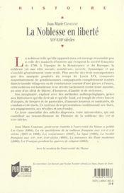 La noblesse en liberte xvie-xviie siecles - 4ème de couverture - Format classique