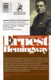 Ernest Hemingway à 20 ans ; un homme blessé - 4ème de couverture - Format classique
