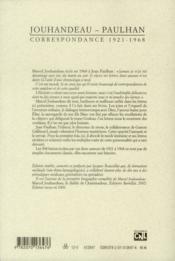 Les Cahiers De La Nrf ; Correspondance 1921-1968 - 4ème de couverture - Format classique