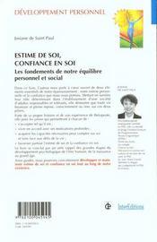 Estime De Soi Confiance En Soi ; Les Fondements De Notre Equilibre Personnel Et Social ; 2e Edition - 4ème de couverture - Format classique