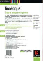 Génétique ; théorie, analyse et ingénierie (5e édition) - 4ème de couverture - Format classique