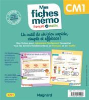 Mon mémo ; mes fiches français et maths CM1 ; tout retenir en un clin d'oeil ! - 4ème de couverture - Format classique