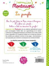 J'apprends à lire Montessori ; la jungle ; spécial un - 4ème de couverture - Format classique