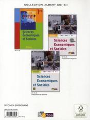Sciences économiques et sociales ; 2nde ; manuel (édition 2008) - 4ème de couverture - Format classique