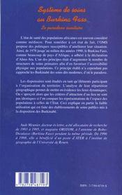 Systeme De Soins Au Burkina Faso ; Le Paradoxe Sanitaire - 4ème de couverture - Format classique