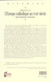 L'europe catholique au xviiie siecle entre integrisme et laicisation - 4ème de couverture - Format classique