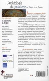 L'archéologie du judaïsme en France et en Europe - 4ème de couverture - Format classique