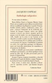 Anthologie subjective - 4ème de couverture - Format classique