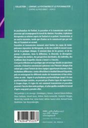 Transmission en psychanalyse de l'enfant - 4ème de couverture - Format classique