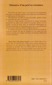 Mémoires d'un prof en résistance ; l'après soixante-huit - 4ème de couverture - Format classique