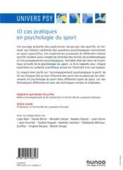 10 cas pratiques en psychologie du sport - 4ème de couverture - Format classique