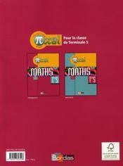 PIXEL ; pixel ; maths ; terminale S obligatoire ; manuel (édition 2008) - 4ème de couverture - Format classique