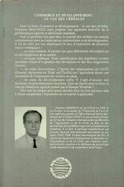 Commerce Et Developpement Le Cas Des Cereales - 4ème de couverture - Format classique