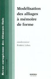 Modélisation des alliages à mémoire de forme - Couverture - Format classique