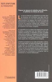 Test D'Aptitude Au Management. Les Qcm Pour Reussir Les Selections - 4ème de couverture - Format classique