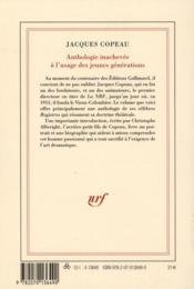 Anthologie inachevée à l'usage des jeunes générations - 4ème de couverture - Format classique