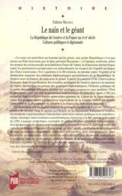 Le nain et le géant ; la République de Genève et la France au XVIII siècle ; cultures politiques et diplomatie - 4ème de couverture - Format classique