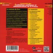 L'essentiel des institutions politiques et administratives de la France (9e édition) - 4ème de couverture - Format classique