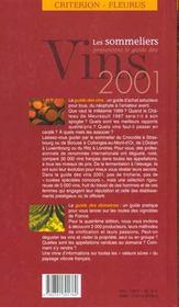 Guide des vins sommeliers ; edition 2001 - 4ème de couverture - Format classique
