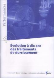 Evolution a dix ans des traitements de durcissement ; performances resultats des actions collectives 9 - Couverture - Format classique