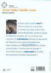 Arsène lupin ; l'aiguille creuse - 4ème de couverture - Format classique