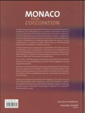 Monaco sous l'occupation - 4ème de couverture - Format classique