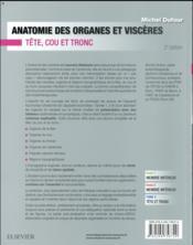 Anatomie des organes et viscères - 4ème de couverture - Format classique