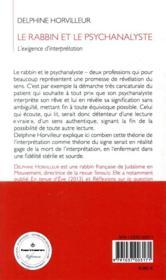 Le rabbin et le psychanalyste ; l'exigence d'interprétation - 4ème de couverture - Format classique