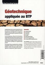La géotechnique appliquée au BTP - 4ème de couverture - Format classique